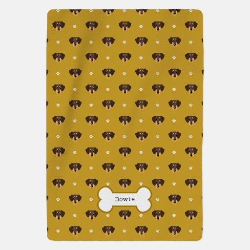 Personalised Brown Dachshund Fleece Blanket - Pattern