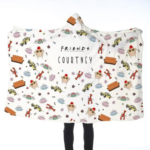 Personalised FRIENDS™ Patterned Adult Hooded Blanket.