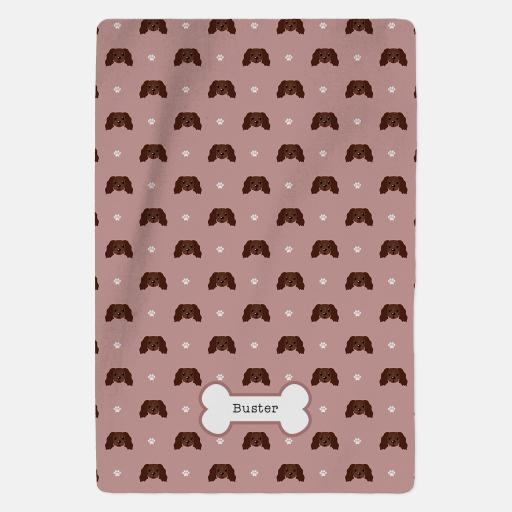 Personalised Chocolate Cocker Spaniel Fleece Blanket - Pattern