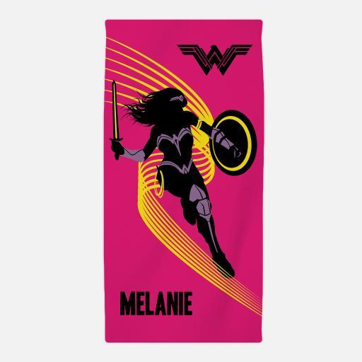 Personalised Wonder Woman™ Personalised Beach Towel - Pink Silouette.
