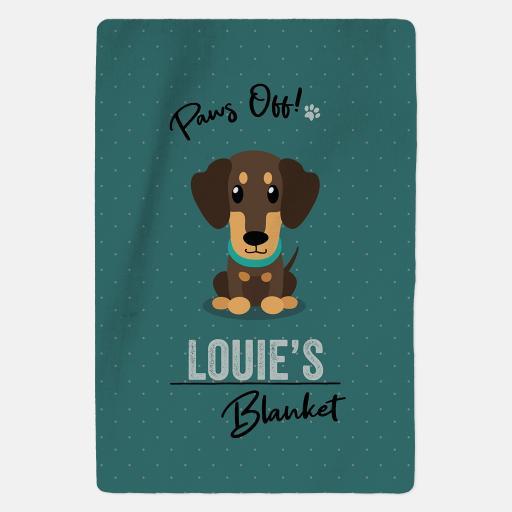 Personalised Brown Dachshund Fleece Blanket - Paws Off