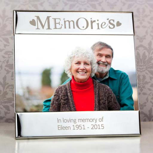 Personalised engraved Silver Memories Square Photo Frame