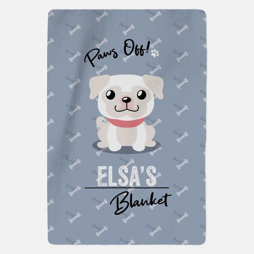 Personalised White Pug Fleece Blanket - Paws Off