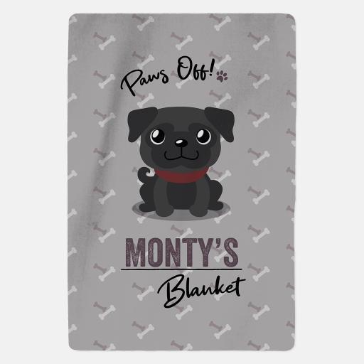 Personalised Black Pug Fleece Blanket - Paws Off