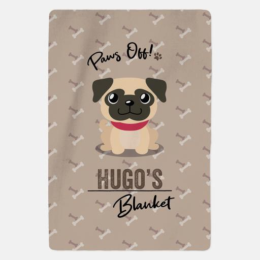Personalised Fawn Pug Fleece Blanket - Paws Off