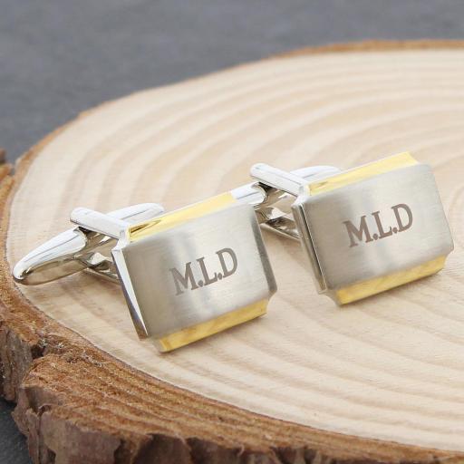 Engraved Gold Rimmed Cufflinks