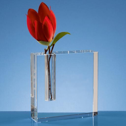 Personalised 12cm Optical Crystal Square Bud Vase.