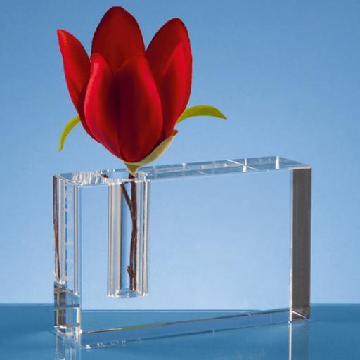 Personalised 12cm Optical Crystal Rectangle Bud Vase.