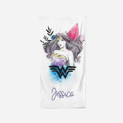 Personalised Wonder Woman™ Beach Towel - Sketch.