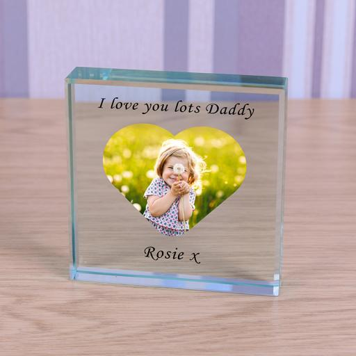 Personalised Glass Token - Heart Photo