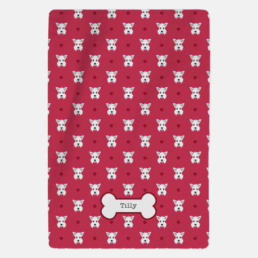 Personalised Westie Fleece Blanket - Pattern
