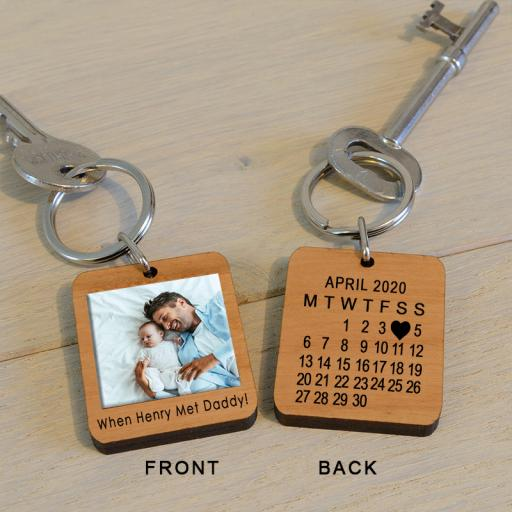 Personalised When Met...Daddy Photo Key Ring.