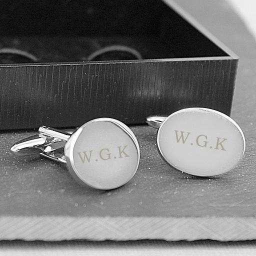 Personalised  Engraved Oval Cufflinks