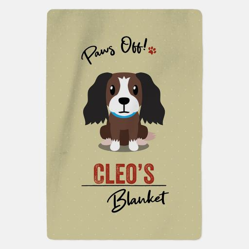 Personalised Brown and White Cocker Spaniel Fleece Blanket - Paws Off