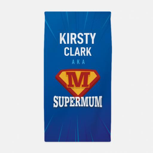 Personalised SUPERMUM Beach Towel.