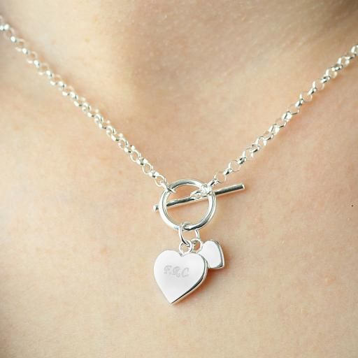 Personalised  Engraved Hearts T-Bar Necklace