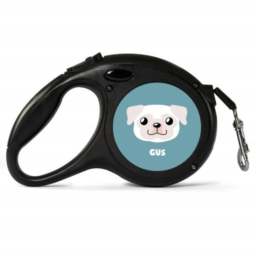 Personalised White Pug Retractable Dog Lead - Small