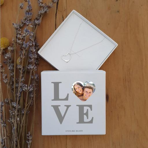 Personalised LOVE Photo Upload Silver Heart Pendant