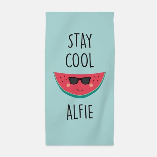 Personalised Stay Cool Kids Beach Towel.
