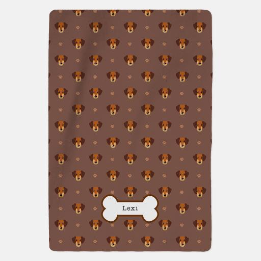 Personalised Caramel Dachshund Blanket - Pattern